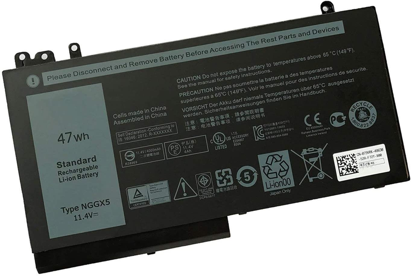 New NGGX5 battery for Dell Latitude E5270 11.4V 47Whr 3 Cell Primary Lithium-Ion Battery 954DF JY8DF
