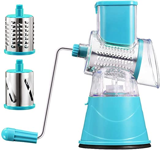Veggie French Fry Cutter Turquoise Dicer Spiralizer 4-in-1 Vegetable Chopper for Onion Potato Fruit