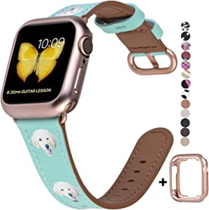 JSGJMY Compatible with Apple Watch Band 38mm 40mm with Case,Women Genuine Leather with Series 5/4/3 Rose Gold Adapter and Buckle for iwatch Series 5/4/3/2/1, Green Leather/Cute Dog Printed