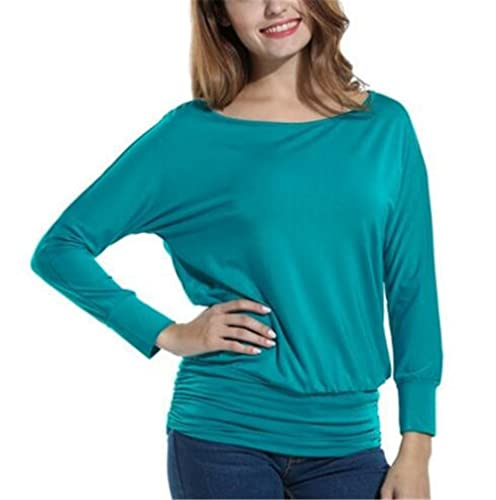 Gogofuture Camisetas Mujer Bonitas Tallas Grandes Blusas Con Manga Larga T-shirt De Color SÓLido Ocasional Camisa