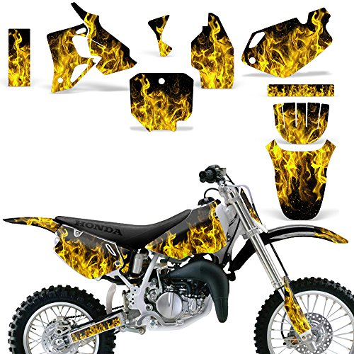 Honda CR 80 1996-2002 Graphic Kit MX Stickers Dirt Pit Bike Decals CR80 FLAMES YELLOW - Custom Pit Bike Graphics Kit
