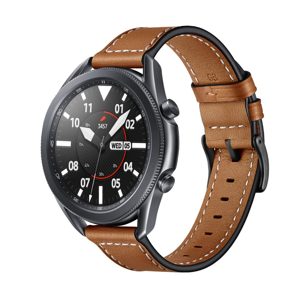 KARTICE Compatible with Samsung Galaxy Watch 3 45mm Bands Galaxy Watch 46mm Bands 22mm Leather Strap Replacement Buckle Band for Galaxy Gear S3 Frontier Classic Watch Band (Brown)