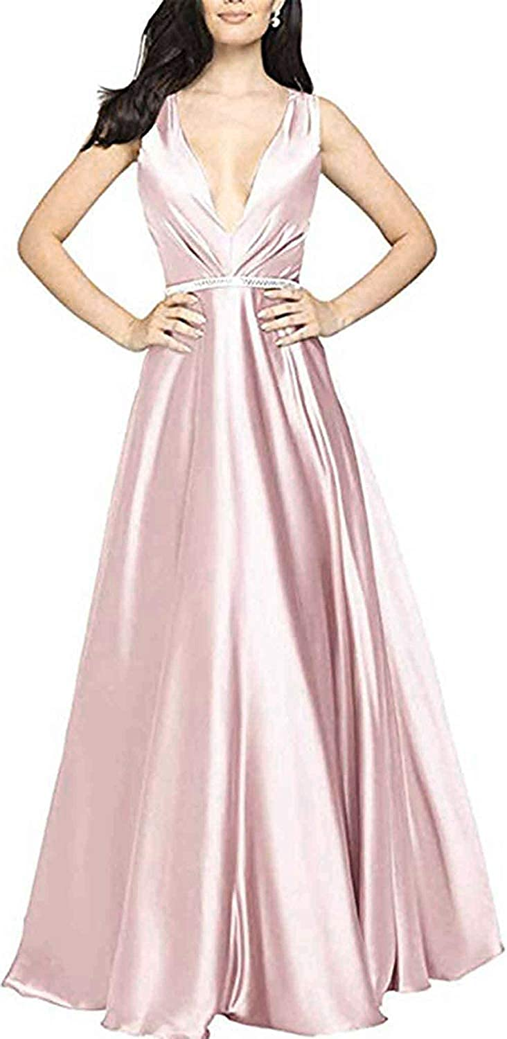 bluesh WHLWHL ALine VNeck Long Party Prom Gown for Women Formal Evening Dress with Pockets