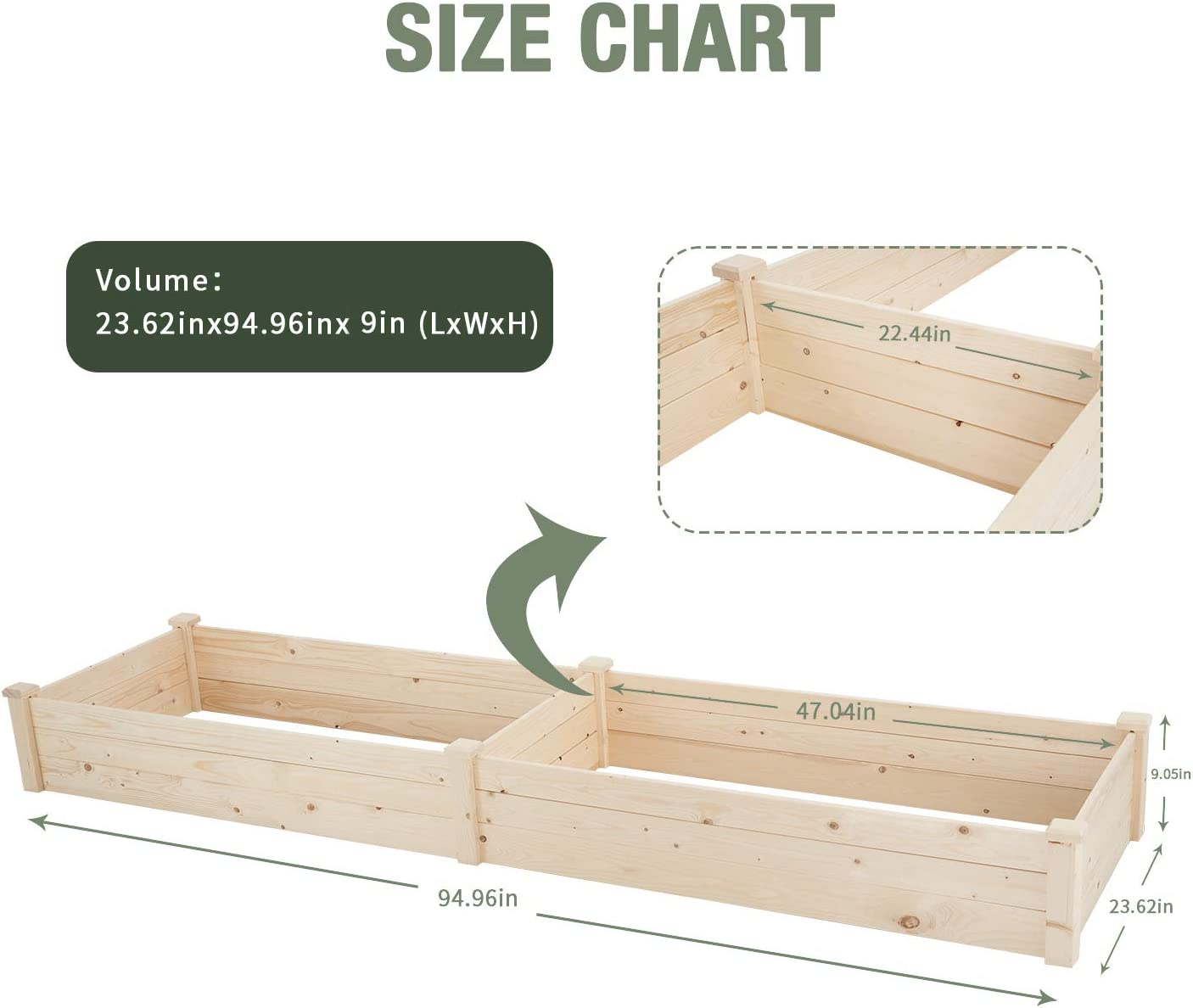 Yiguo Garden Raised Bed 8 FT Planter Box Kit for Vegetable and Flower Wooden Planting Bed Easy Placement for Garden//Balcony//Patio