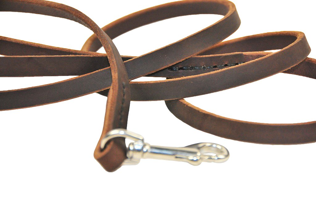 Dean and Tyler No Nonsense Leather Leash, Brown 6-Feet by 1/2-Inch Width With Stainless Steel Hardware.