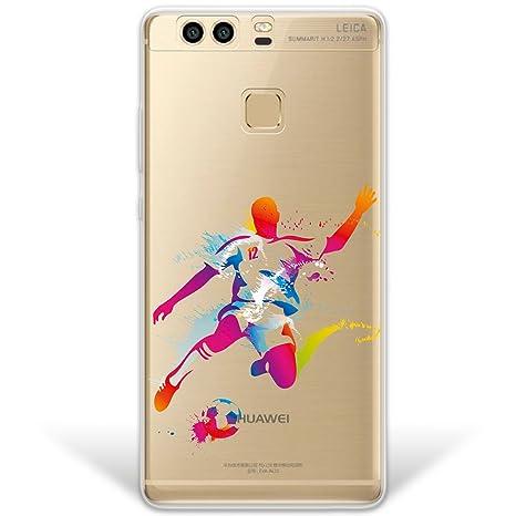 WoowCase Funda Huawei P9 Plus, [Hybrid] Jugador de Fútbol con Balón Deporte 2 Case Carcasa [Huawei P9 Plus] Rígida Fabricada en Policarbonato y Bordes ...