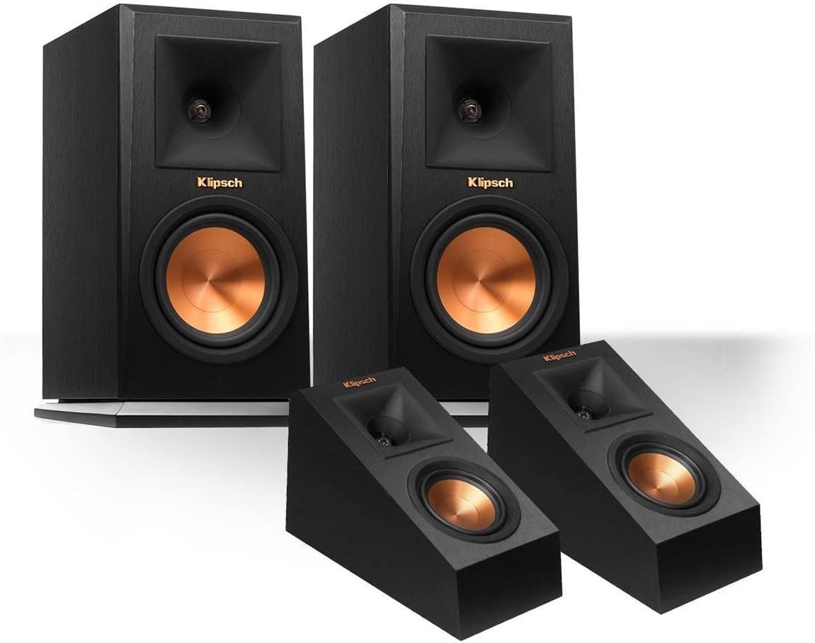 Klipsch RP-160M Reference Premiere Monitor Speakers with RP-140SA Add-On Dolby Atmos Enabled Elevation Speakers Black