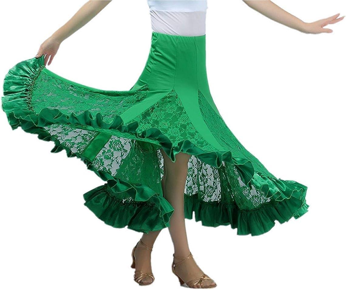 NFACE Elegant Ballroom Dancing Latin Dance Party Long Swing Race Skirt