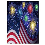 ALAZA American USA Flag Independence Day Polyester House Flag Banner 28″ x 40″, Colorful Firework Happy Memorial Day July of 4th Double Sided Garden Flags for Anniversary Yard Outdoor Decoration Review