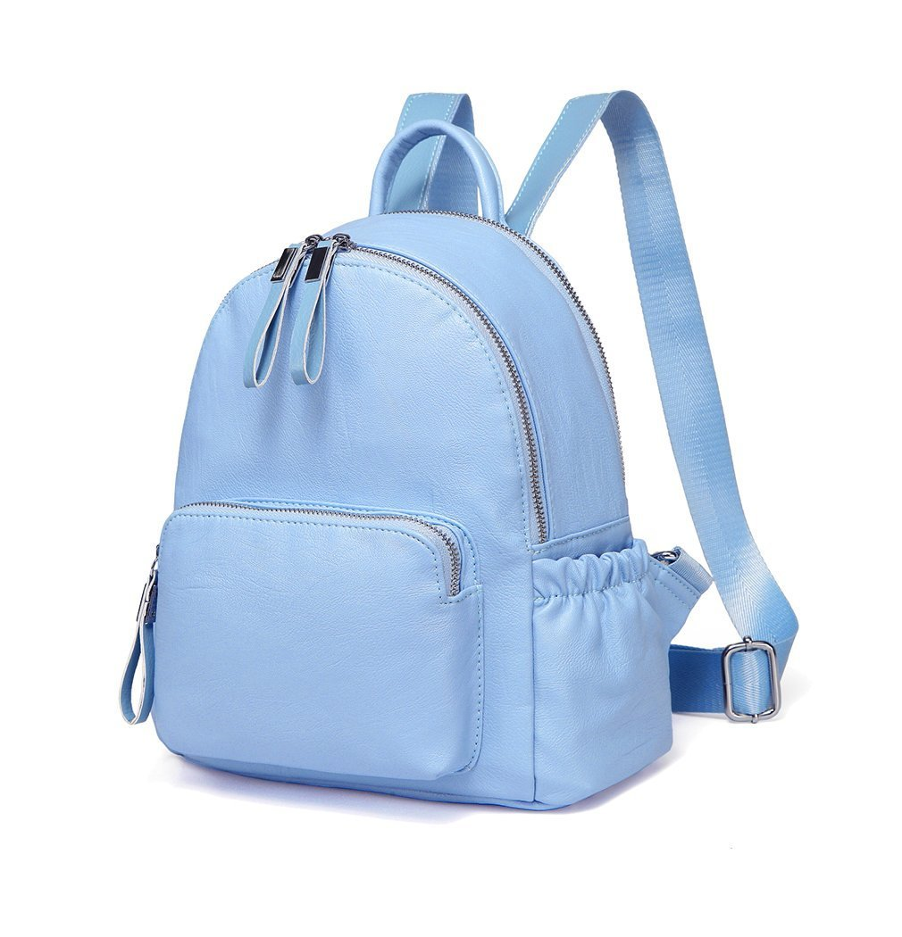 Mini Backpack Purse,Vaschy Faux Leather Small Backpack for Women (Sky Blue) by VASCHY