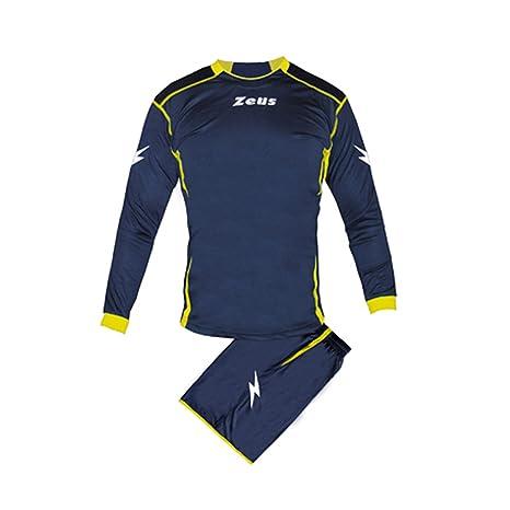 47e5433f4bd7cf Kit Zeus Sparta Blu-Giallo Completino Completo Calcio Uomo Donna Calcetto  Muta Torneo Scuola Sport