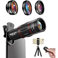 Apexel Phone Photography Kit-Flexible Phone Tripod +Remote Shutter +4 in 1 Lens Kit- 18X Telephoto Lens, Fisheye, Macro…