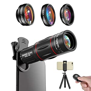 Apexel Phone Photography Kit-Flexible Phone Tripod +Remote Shutter +4 in 1 Lens Kit- 18X Telephoto Lens, Fisheye, Macro & Wide Angle Lens for iPhone 11/XS Max/XR/ XS/X 8 7 Plus Samsung OnePlus Phones