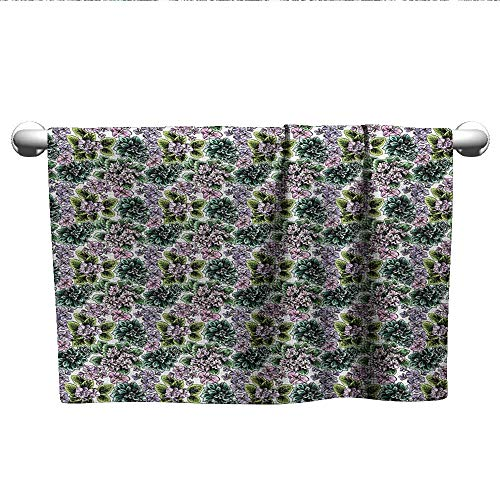 Flowering African Violet (alisoso Floral,Face Towels Child Flowering Plants Gardening African Violet Peonies Hydrangea Foliage Illustration Beach Towels Multicolor W 28