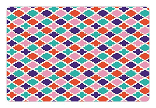 Lunarable Ikat Pet Mat for Food and Water, Colorful Mosaic Tiles Style Ikat Indonesian Esatern Patterns and Motifs, Rectangle Non-Slip Rubber Mat for Dogs and Cats, Multicolor