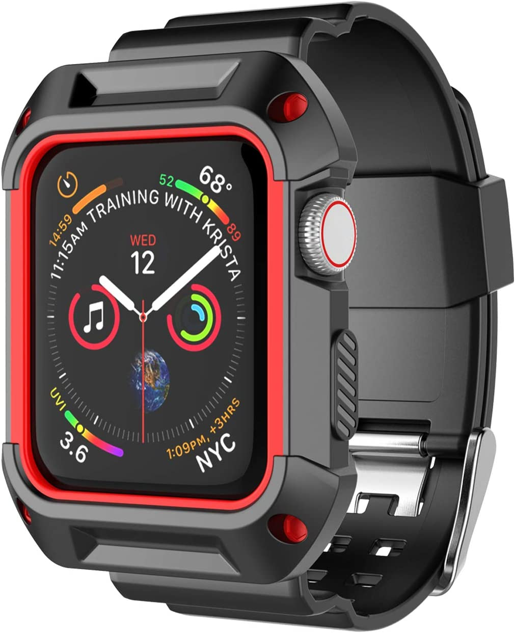 Takfox Smartwatch Band with Case for Apple Watch Band 38mm, Silicone Sport Protective Bumper Case Breathable Strap Bands Replacement Apple Watch Band for 38mm iWatch Series 3 Series 2 Series 1-Red
