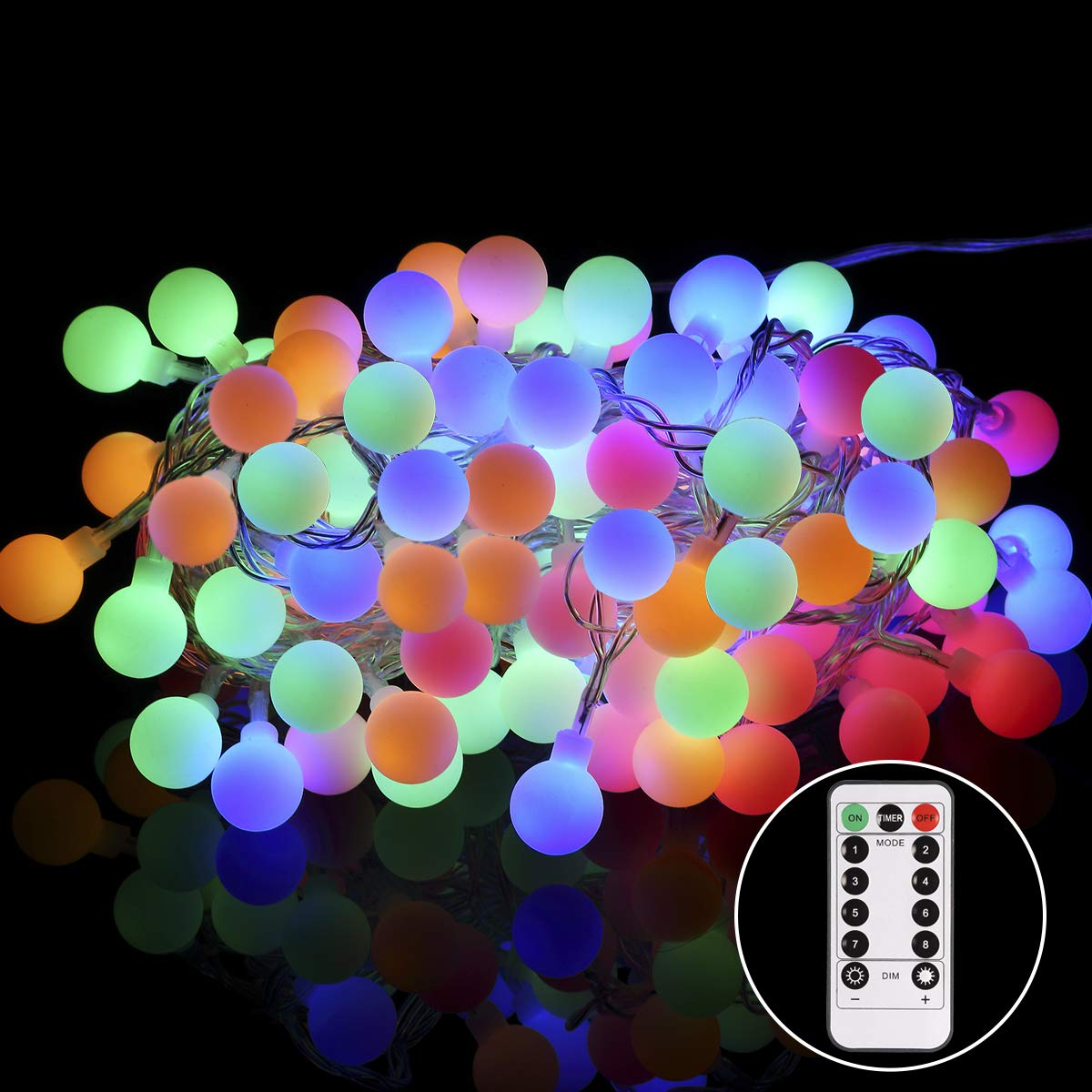 GreenClick LED String Lights with Remote,34Ft 100 LEDs Dimmable Globe String Lights Outdoor, UL Listed Plug in String Lights,Colorful Decorative Ball Lights for Bedroom,Xmas,Patio,Wedding,Parties by GreenClick