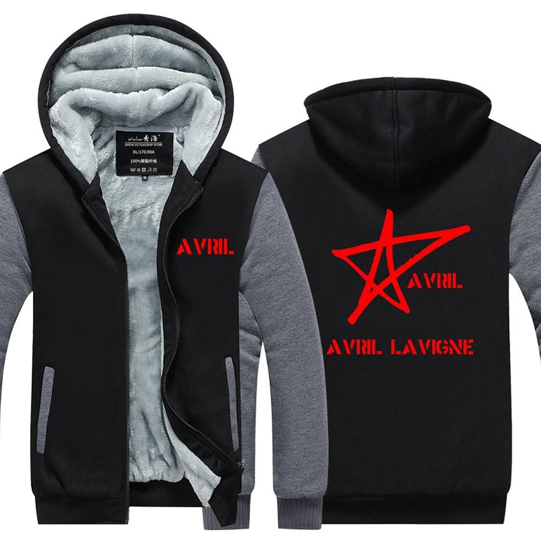 Mens Hoodie Winter Avril Lavigne Pop Music Singer Thicken Fleece Coat pentagram Symbol US EU Plus Size