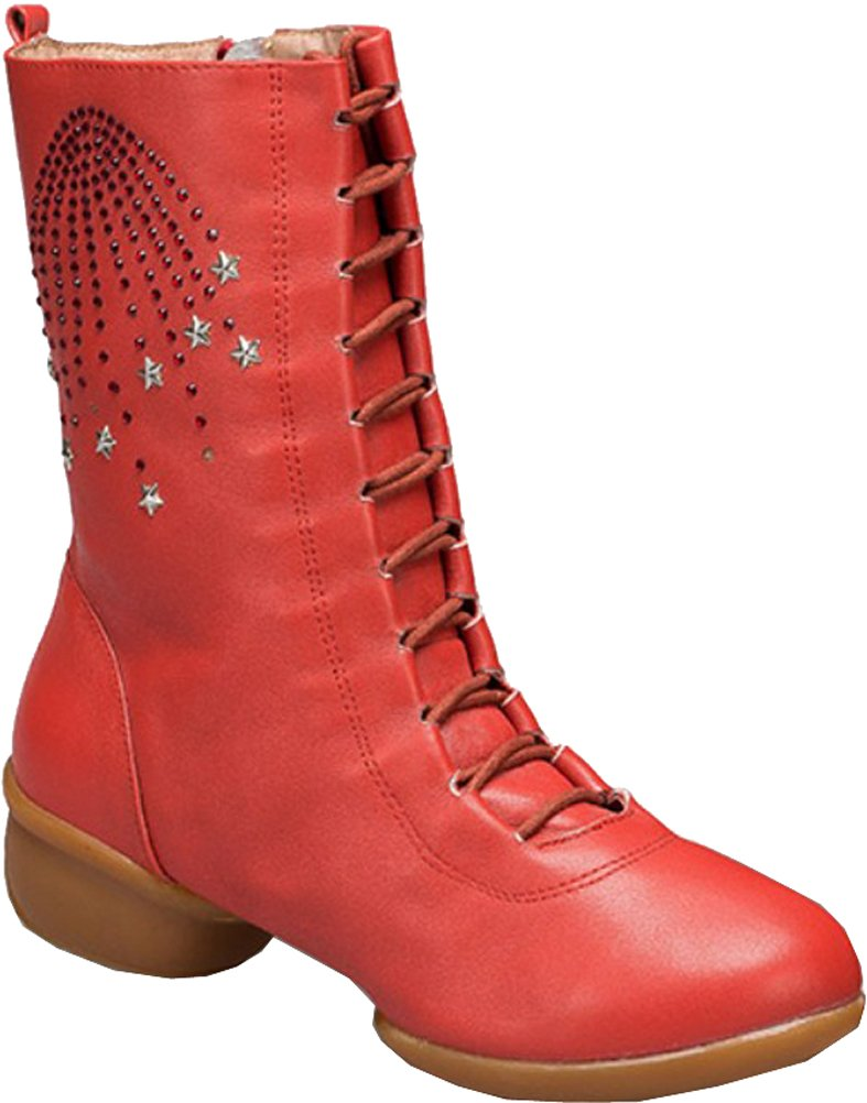 Abby Womens Comfortable Professional Leather Split-Sole Square Dance Boots