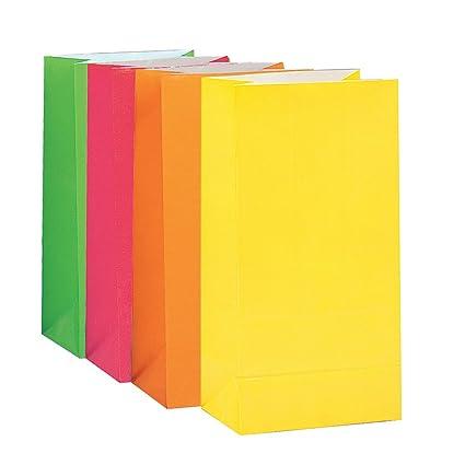 Unique Party- Paquete de 10 bolsas de regalo de papel, Color surtido de neón, 30 (59016)