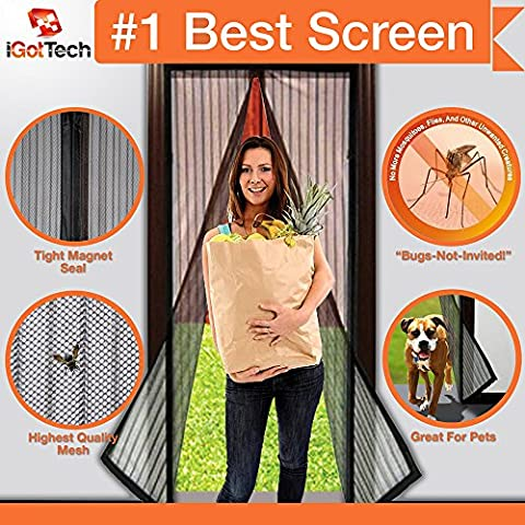 """Magnetic Screen Door, Full Frame Velcro. Fits Door Openings up to 34""""x82"""" MAX (First Up Screen Curtain)"""
