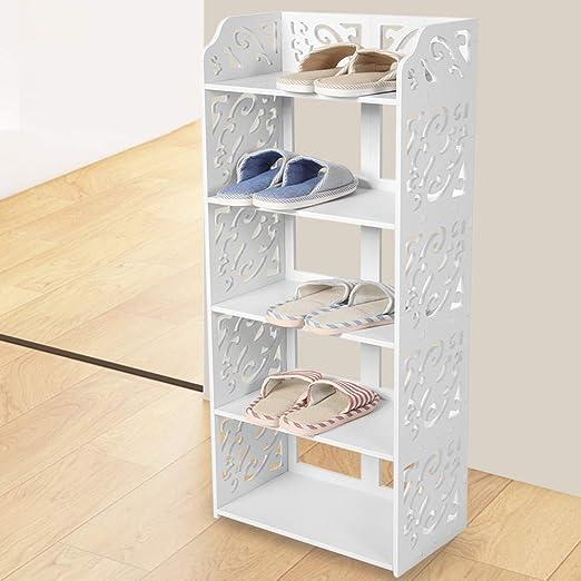 QWERASD Tablero de PVC Armarios de Zapatos de 5 Niveles Blanco Ahuecado Soporte para Zapatero Organizador de Almacenamiento Estante Soporte Soporte Estantería CD Pantalla: Amazon.es: Hogar