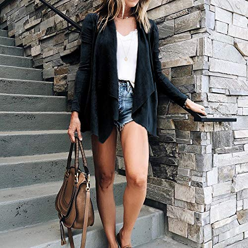 Autumn Women Short Women Open Suit Casual Familizo Sleeve for Navy Leather Long Casual Fashion Front Coat Cardigan Clearance Office Winter Jacket Work Cardigan rR7IxvRq