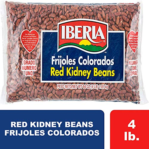 Dry Kidney Beans - Iberia Red Kidney Beans, 4 lb, Bulk Red Kidney Beans, Long Shelf Life Kidney Beans with Easy Storage, Rich in Fiber & Potassium, Low Calorie, Low Fat Food
