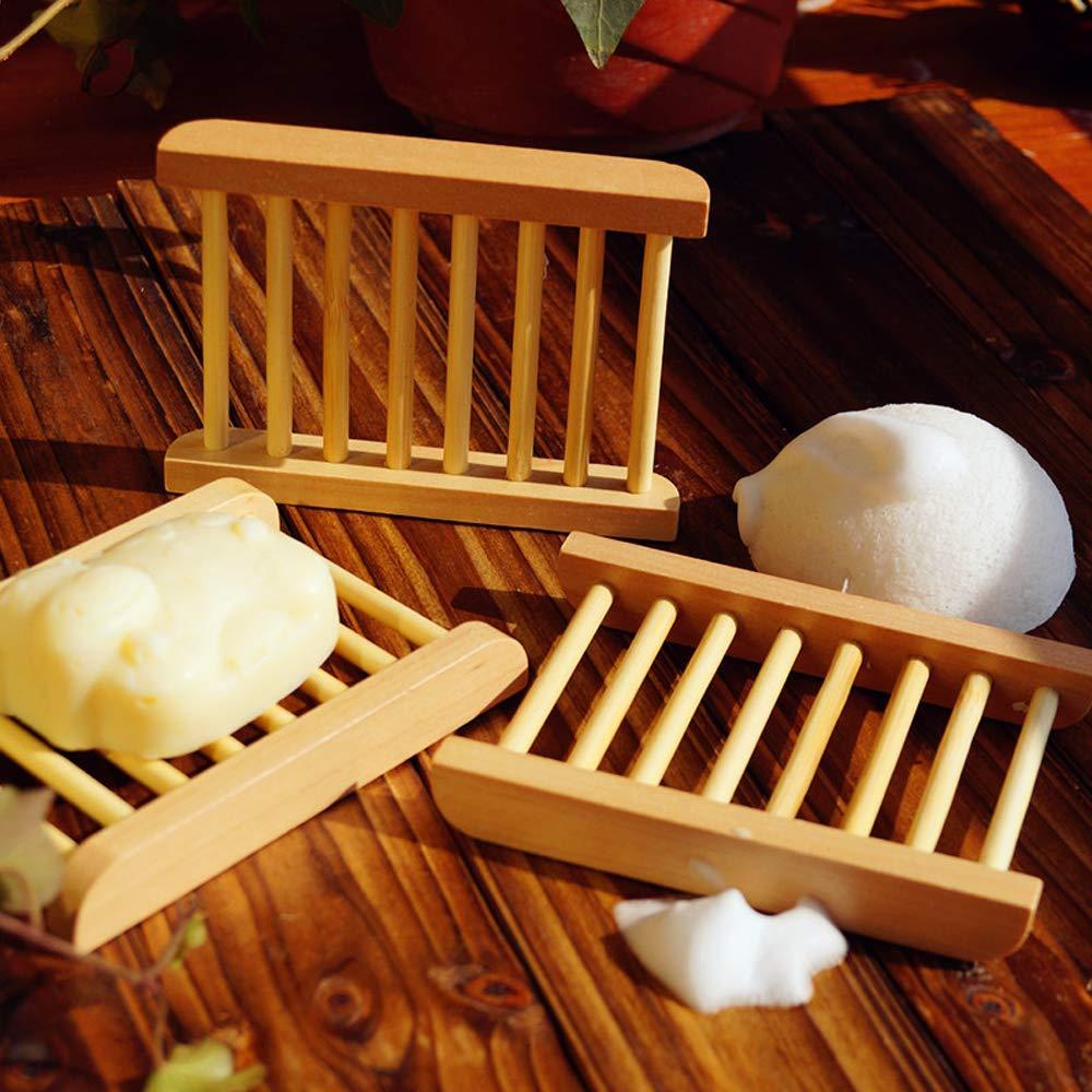 HPiano Portasapone in Legno 4 Pezzi Porta Sapone Bagno Accessori Mano Artigianale di Sapone in Legno Naturale di Supporto Porta Saponetta bamb/ù Rettangolare Igienico