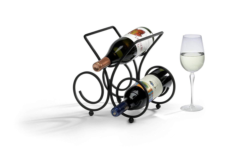 Small Black Metal Wine Rack, 3-Bottle,