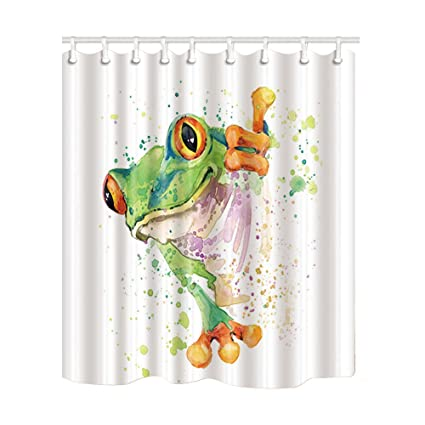 Amazon NYMB Watercolor Decor Splashing Frog Shower Curtain