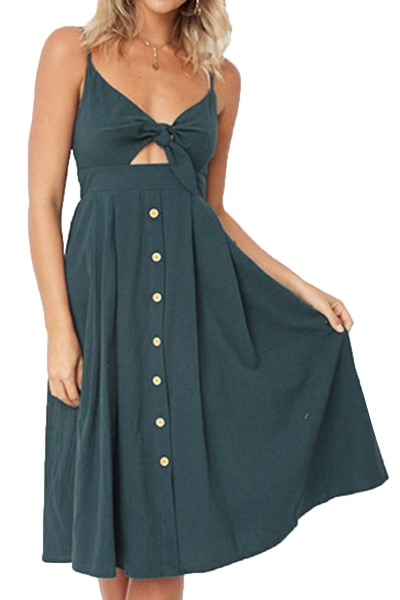 Laucote Womens Swing Dresses Tie Front V-Neck Spaghetti Strap A-Line Backless Dress M