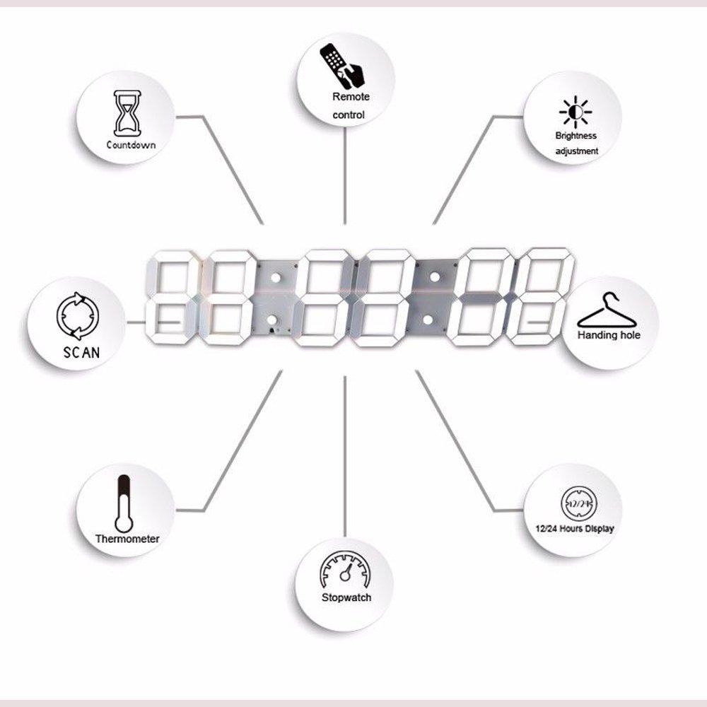 lambtown Super gran de cuenta atrás para Digital Count Up reloj de pared LED con mando a distancia apoyo ajuste de la alarma y calendario Temperatura: ...