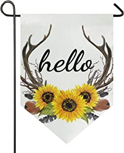 ALAZA Hello with Sunflower Deer Antler Garden Flag Welcome Home House Flags Double Sided Yard Banner Outdoor Decor 28 x 40 Inch, 1 Piece
