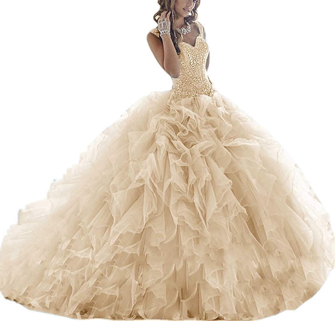 Champagne ASBridal Quinceanera Dresses Long Prom Party Dress Sweet 16 Crystals Beads Formal Ball Gowns Orangza