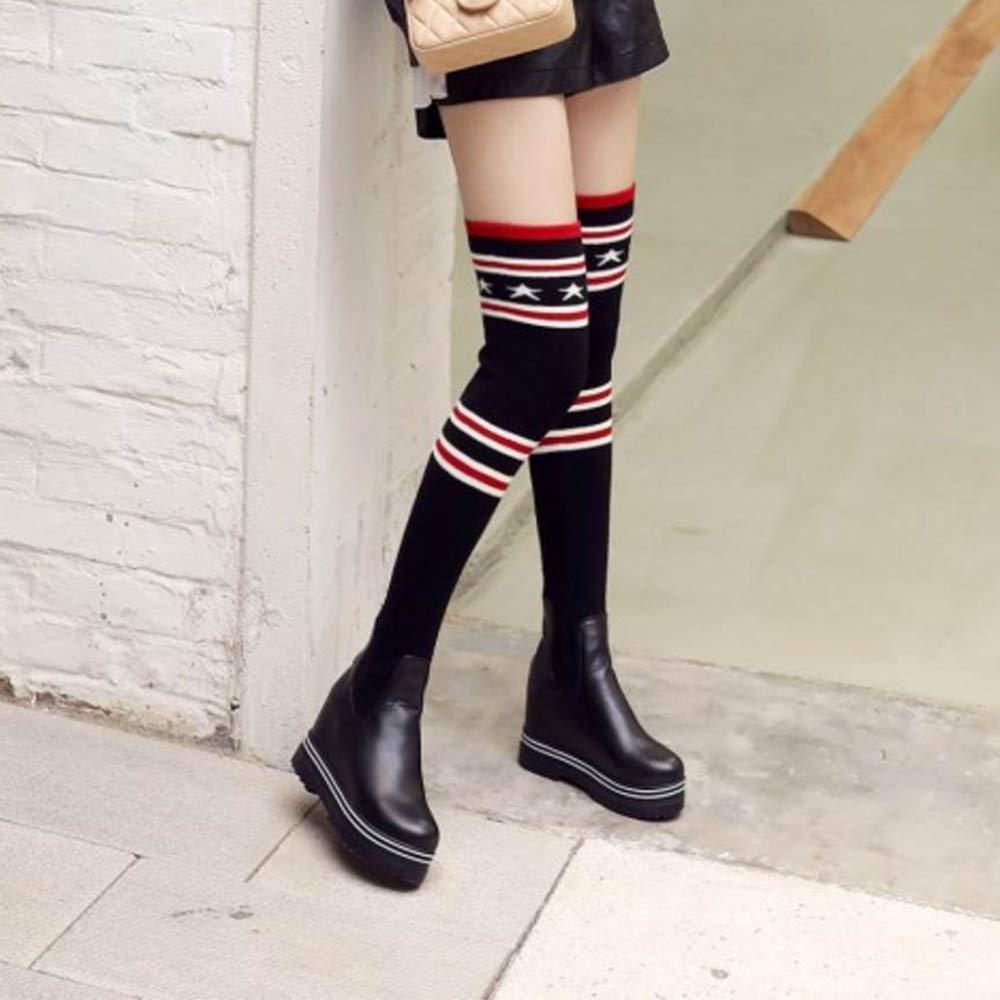 Qiusa Damenmode Keilabsatz Stiefel ziehen ziehen ziehen an d81361