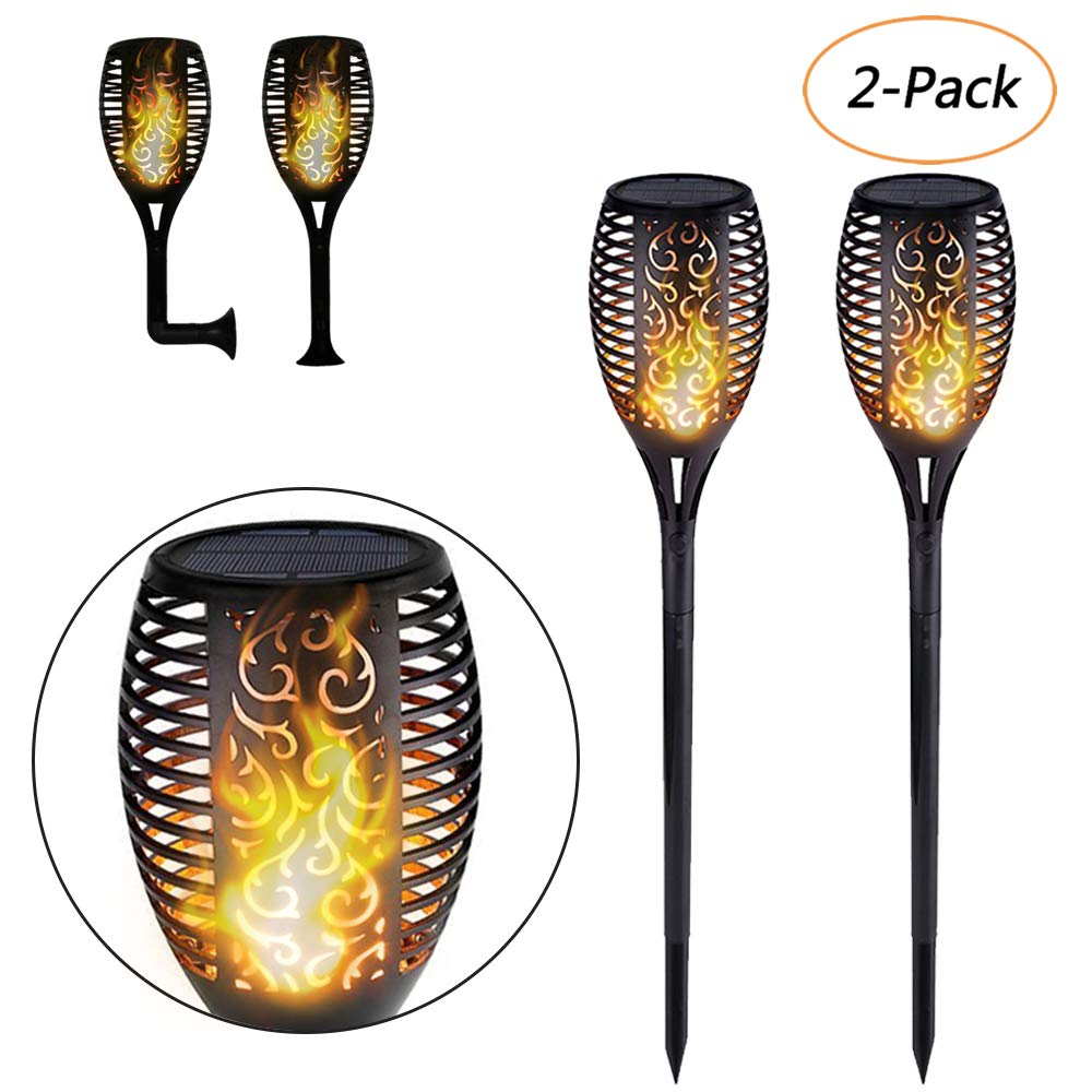 Solar Lights Outdoor, Solar Garden Flickering Flame Solar Torch Lights Waterproof Dancing Lighting Landscape Decoration 96 LED Dusk to Dawn Flickering Tiki Torches for Patio Wall Deck Sea Beach 2 Pack