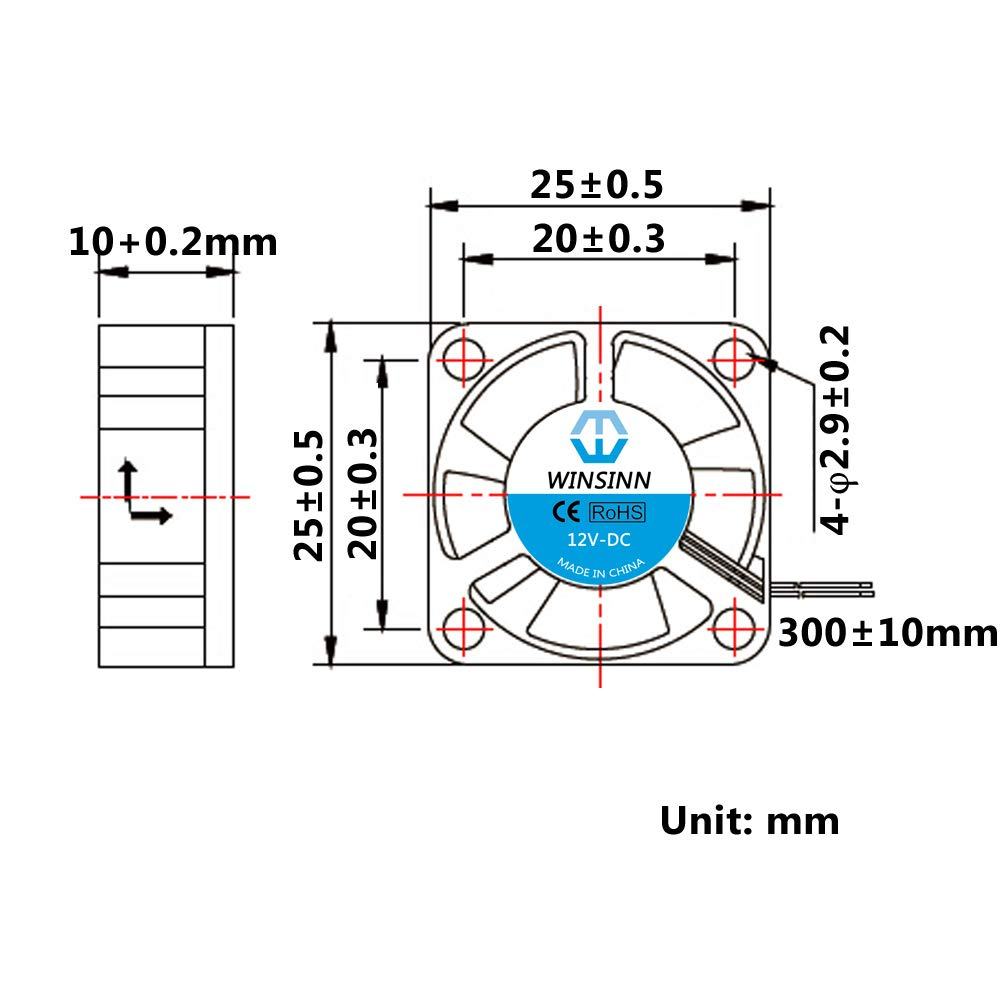 Winsinn 2510/5/V 12/V 24/V DC ventola di raffreddamento 25/mm 25/x 25/x 10/mm per stampante 3D DIY notebook 2510 5V