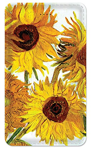 Sunflower Ports - Amped Art 5000 Portable Power Bank 5000 mAh External Battery Charger, Ultra Slim Design with 2 USB Ports for iPhone7 Plus 6s 6 Plus, iPad, Galaxy and More - Van Gogh - Sunflowers II