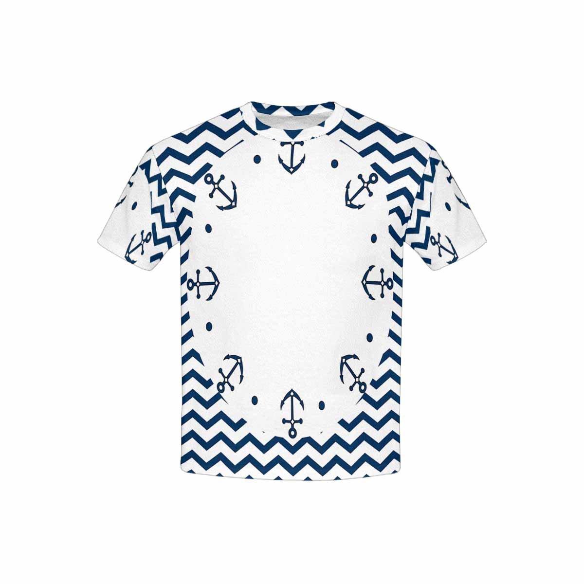 XS-XL INTERESTPRINT Round Navy Anchors and Dots Youth T-Shirts
