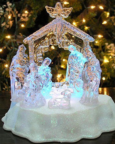 Lighted Curio Fireplace - BANBERRY DESIGNS Lighted LED Nativity Scene Holy Family in Manger Christmas Table Top