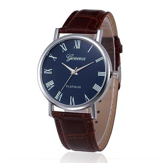 Reloj, poto 2017 nueva moda de hombre Retro diseño banda de cuero analógico aleación de cuarzo reloj de pulsera: Amazon.es: Relojes