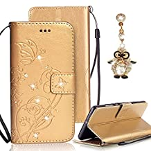 Samsung Galaxy S4 Case, Bonice Luxury Rhinestone Embossing Butterfly Pattern Premium PU Leather Flip Magnetic Snap Book Style Wallet Case [Card Slots] [Hand Strip] Multi-Function Design Cover + Diamond Dust Plug, Gold