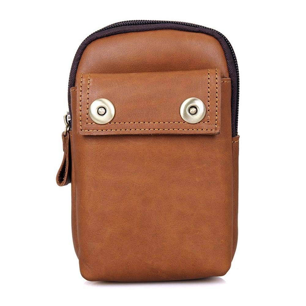 Color : B Botoushipeifangxiaomaipu Retro Casual Head-ply Cowhide Mens Pockets Leather Pockets Wear-Resistant Waterproof Anti-Vibration