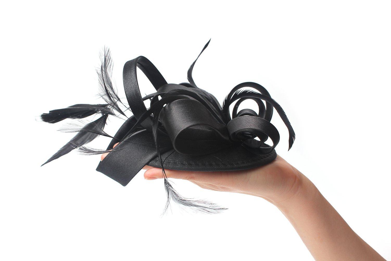 Felizhouse Fascinator Hats for Women Ladies Feather Cocktail Party Hats Bridal Headpieces Kentucky Derby Ascot Fascinator Headband (Black) by Felizhouse (Image #5)