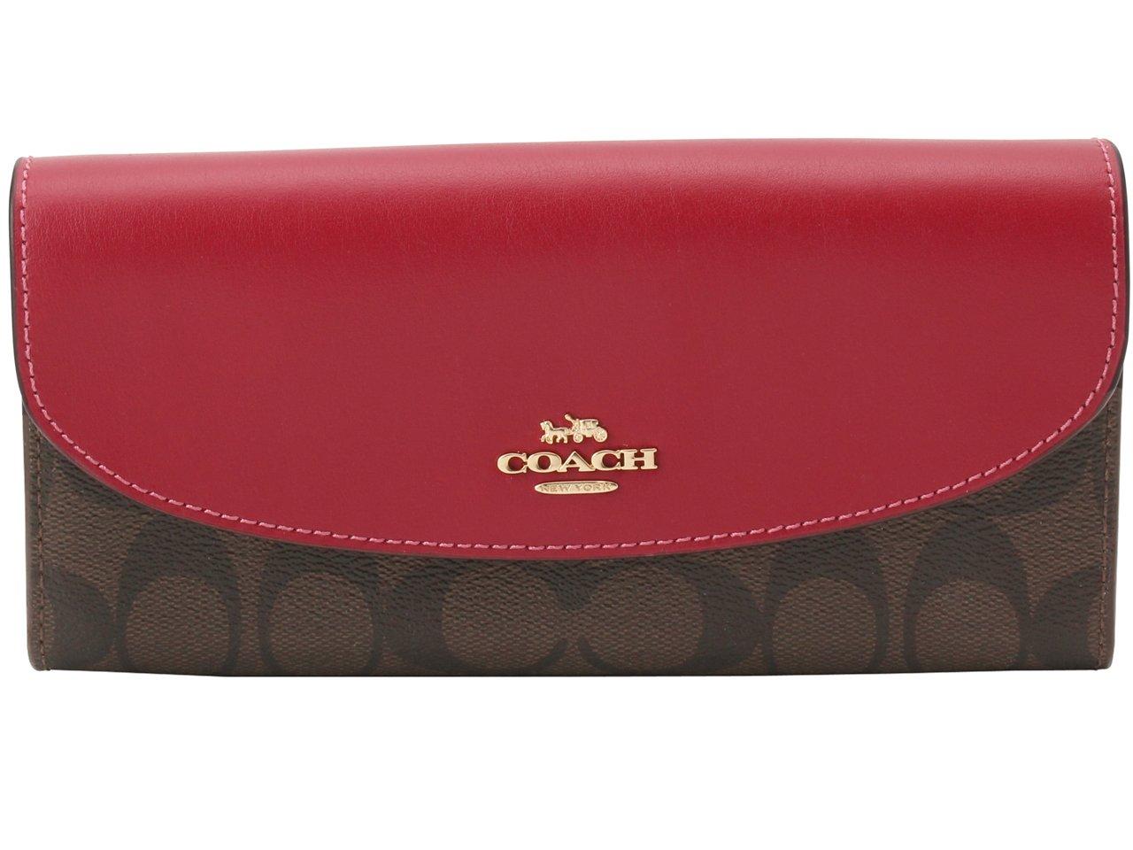 (コーチ) COACH 財布 長財布 二つ折り シグネチャー SLIM ENVELOPE F54022 アウトレット [並行輸入品] B07DWQWLBB ブラウン/ブライトレッド ブラウン/ブライトレッド