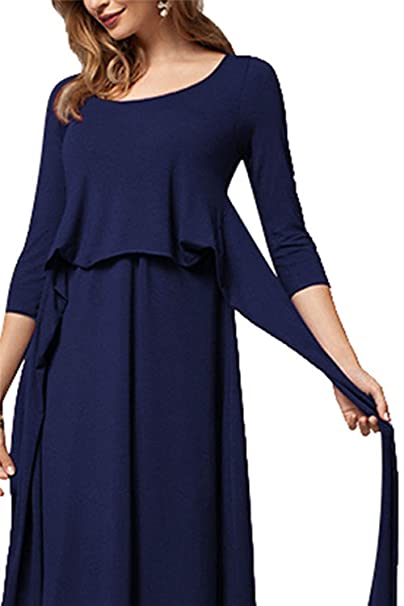 Kelice Túnica de Cambio de Lactancia Femenina suéter Jersey Jumper Dress Azul XS