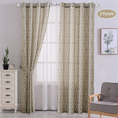 CAROMIO Tan Curtains for Living Room 84 Inch, Lattice Geometric Pattern Linen Blend Curtians Grommet Quatrefoil Window Treatment Drapes for Living Room Set of 2 Panels, Tan
