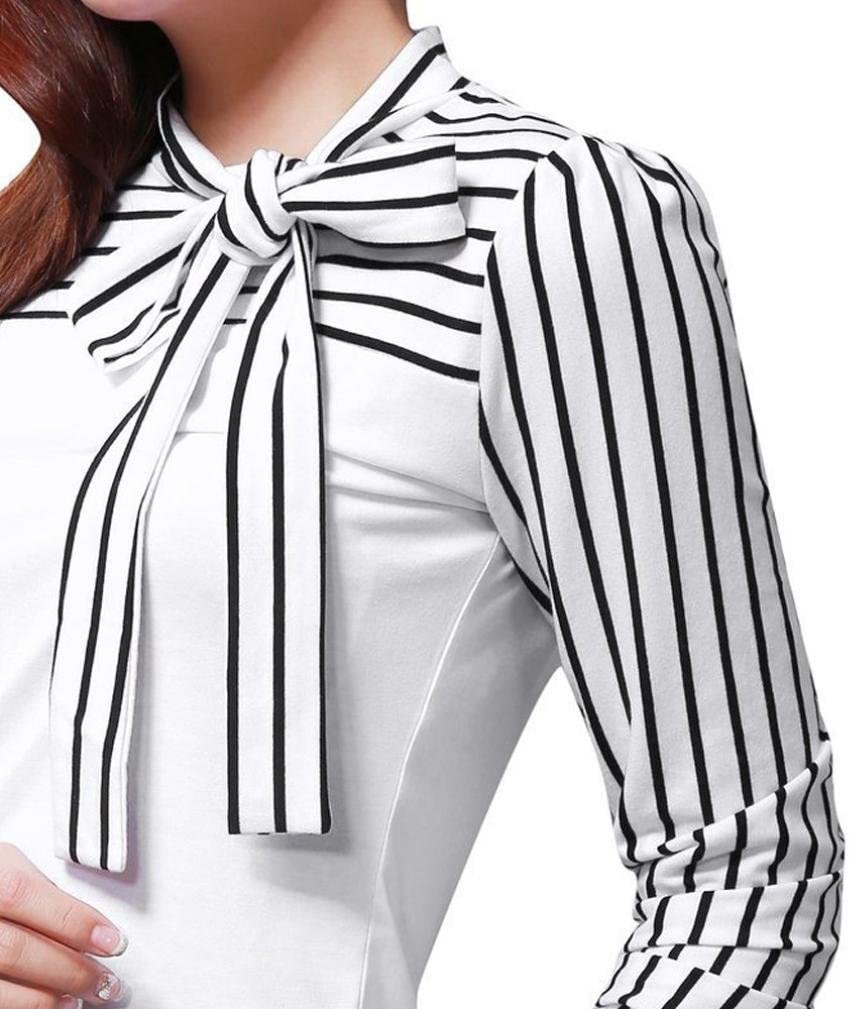 AmyDong - Blusa de Manga Larga para Mujer, Cuello de Lazo ...