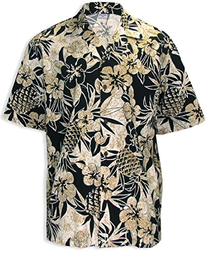 Two Palms Mens Pineapple Garden Cotton Shirt Black 3X by Two Palms